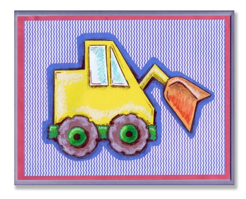 The Kids Room by Stupell Yellow Tractor on Blue Stripes Rectangle Wall Plaque