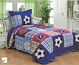 FT Home Fashion Kids Boys Blue Sports Patchwork Print Twin Size Coverlet Quilt Set, 2 Pieces