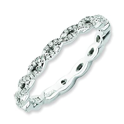 Stackable Expressions Size 6 - Diamond 2.25mm Twisted Eternity Band Sterling Silver Stackable Ring UK Ring Size - L