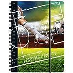 Brunnen 107297227 Schülerkalender/Schüler-Tagebuch (1 Seite = 1 Tag, 12x16cm (A6), PP-Einband Fußball, Kalendarium 2016/2017)