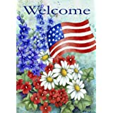 Toland - Patriotic Welcome - Decorative America Red White Flower Floral Blue USA-Produced House Flag