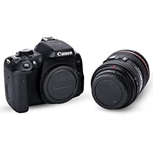 JJC (2-Pack) Body Cap Cover and Rear Lens Cap Cover Kit for Canon EOS Rebel T6 T5 T4i T5i T6i T6s T7i SL1 SL2 40D 50D 60D 70D 77D 80D 5D Mark II III IV 6D 7D and More Canon DSLR Camera w/EF EF-S Lens (Color: 2-Pack, Tamaño: For Canon EOS Mount)