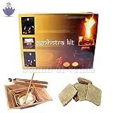 Agnihotra Kit for Daily Agnihotra Hawan Copper Pot: 2.25 Inches (H) X 6 Inches + Get FREE gemstone Gaensha Pendant