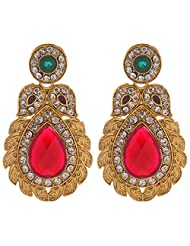 7Vibes Drop Earring With Red Stone For Women