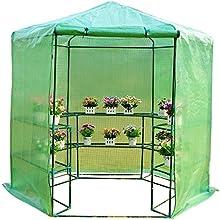 homcom 01-0470 Gewächs-Treib-Tomaten-Pflanzen Haus Frühbeet mit Regalböden, Durchmesser 194 x 225 cm