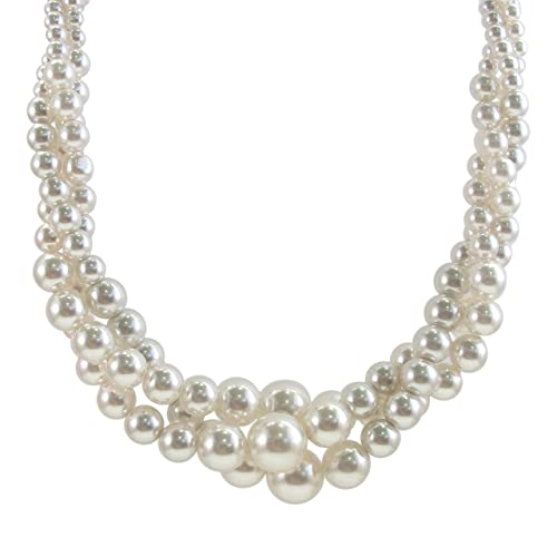 Cream Simulated Three Strand Twisted Pearl Necklace