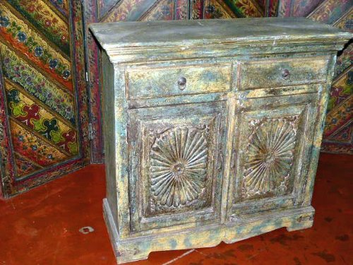 Mogul Interior Antique Chakra Carved Chest Sideboard Cabinet Rustic  Furniture From India (MI)
