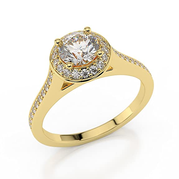1 CT Halo Engagement Ring Round Cut with Sidestones for Ladies D/SI1 14ct Yellow Gold