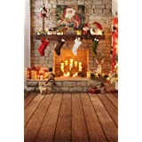 Yeele 3x5ft Merry Chrismas Backdrop Fireplace Candle Light Santa Claus Xmas Stocking Vintage Wooden Floor Background for Photography Party Decor Kid Adult Family Photo Booth Shoot Vinyl Props (Color: Y2WH04620, Tamaño: 3x5ft)