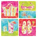 "CoasterStone AS1125 Absorbent Coasters, 4-1/4-Inch, ""Tropical Icons"", Set of 4"