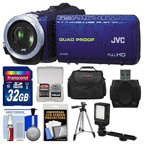 Jvc Everio Gz-R10 Quad Proof Full Hd Digital Video Camera Camcorder (Blue) With 32Gb Card + Case + Led Light + Tripod + Kit