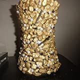 Gold Nugget Vase W/Black & White Pearl Beads