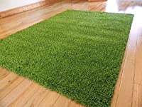 SMALL EXTRA LARGE RUG MODERN SOFT THICK SHAGGY RUGS NON SHED SHAG RUNNERS (Green, 80 x 150 cm)