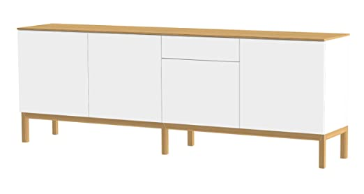 Tenzo PATCH Designer Sideboard with Oak Veneer Top, 85 x 238.5 x 47 cm, White/Oak