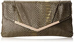 Jessica McClintock Arielle Envelope Clutch, Black/Gold, One Size