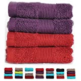 Casa Basics 450 GSM Premium Quick Dry 4 Pcs Hand Towels Set- Red & Purple...