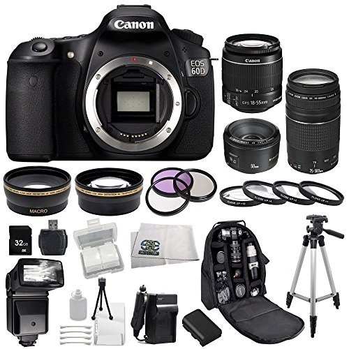 Canon Eos 60D Dslr Sse Bundle Camera Kit With 3 Canon Lenses: Featuring Canon Ef-S 18-55Mm F/3.5-5.6 Is Lens + Canon Normal Ef 50Mm F/1.8 Ii + Canon Zoom Telephoto Ef 75-300Mm F/4.0-5.6 Iii Autofocus Lens, Also Includes: 0.43X Wide Angle Lens & 2.2X Telep