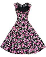 Maggie Tang Women's 1950's Floral Spring Vintage Garden Party Picnic Dress