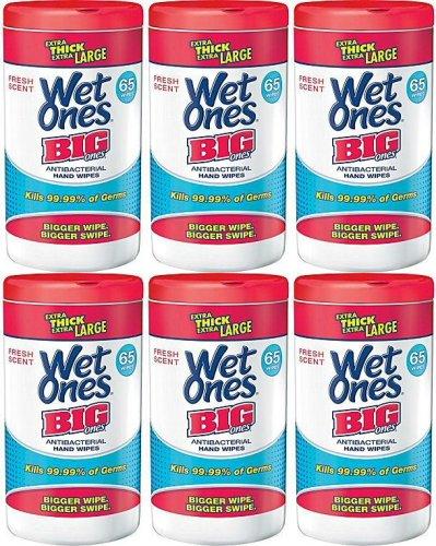 Wet Ones Big Ones Fresh Scent Antibacterial Canister 390Ct (6 X 65Ct) front-642041