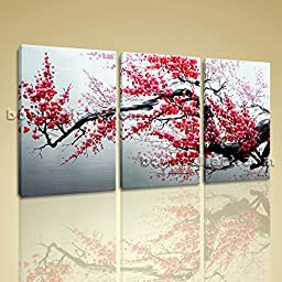 Large Abstract Floral Painting Plum Blossom Tree On Canvas Art Print Framed 3 Panels Wall Art Inner Framed Ready To Hang by Bo Yi Gallery 50\