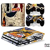 AmorFati PS4 PRO Playstation 4 PRO Console Skin Decal Sticker - Naruto + 2 Controller Skins Set