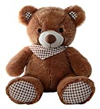 Dimpy-Stuff-Teddy-Bear-with-Check-Bow-Brown