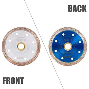 Peakit Tile Saw Diamond Blade 4 Inch, Porcelain Blade Ceramic Cutter Disc Wheel for Angle grinder, Reversible Color (Color: 4 inch blue& silver reversible, Tamaño: Small)