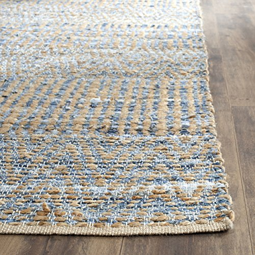 Safavieh Cape Cod Collection CAP353A Hand Woven Natural and Blue Cotton Square Area Rug, 6 feet Square (6' Square)