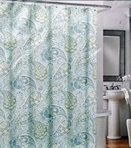 Amazon Com Cynthia Rowley Cotton Fabric Shower Curtain Aqua Blue Green Paisley Pattern Home