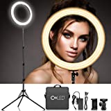 Dimmable 18 Inch Makeup LED Ring Light - 3200-5600K Warm to White Soft Light w/LCD Display for Precise Adjustment, USB Power Output, Camera Phone Holder &Carrying Case for Selfie YouTube Studio Video (Color: 18 inch Ring Light)