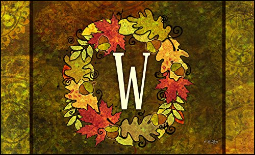 Toland Home Garden Fall Wreath Monogram W 18 x 30-Inch Decorative USA-Produced Standard Indoor-Outdoor Designer Mat 800142