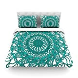 "Kess InHouse Patternmuse ""Mandala Spin Jade"" Green Cotton Duvet Cover, 88 by 104-Inch"