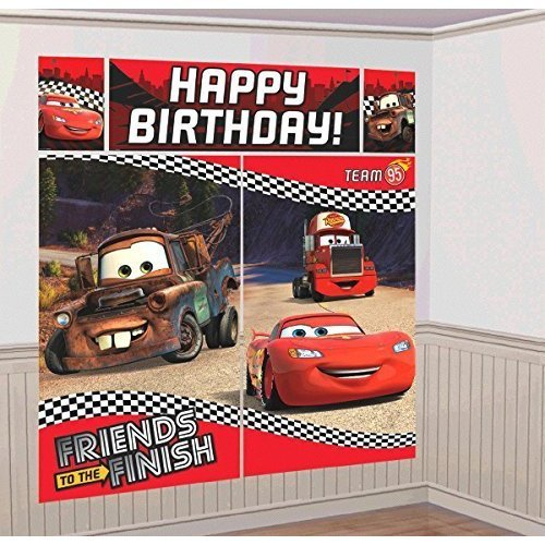 Disney Cars Scene Setter Wall Decorations Kit - Kids Birthday and Party Supplies Decoration
