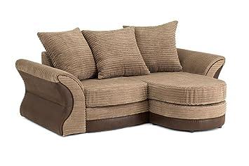 Merida Corner Sofa in Brown & Beige - Right Hand