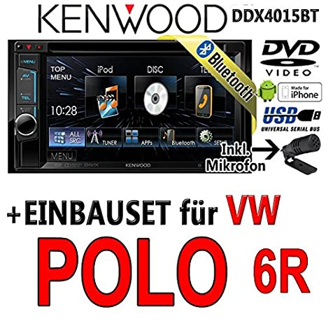 VW polo 6R dDX4015BT-kenwood autoradio multimédia 2 dIN avec kit de montage