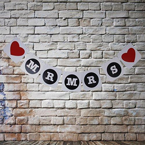 MR MRS Coeur Guirlande Bannière Banderole Décoration pour Cérémonie Mariage Accessoire de Photo
