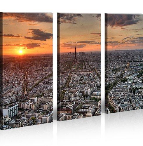 Paris parigi 3 quadri moderni su tela pronti da appendere montata su pannelli in legno - Quadri da appendere in bagno ...