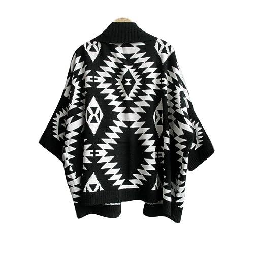 Vobaga Womens Aztec Geometric Print Batwing Cardigan Sweater