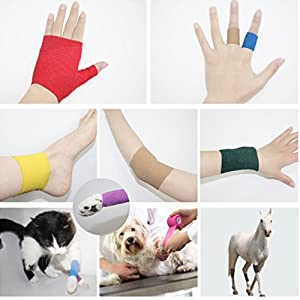 Tattoo Grip Cover Self-Adhesive Elastic Bandage 2'' x 5y Nonwovens Sport Bandages Movement Bandage Medical Wrap 6 Roll Supplies (Color: Black, Tamaño: 2In)