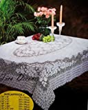 "Vinyl Tablecloth Lace crochet Style 54""x72"" White Table Cloth"