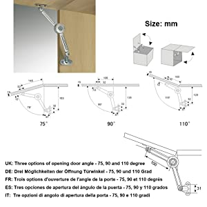 2 Packs [Upgraded] Qrity Cabinet Cupborad Furniture Door Lift Stay Support Hinge Damper - Support Up to 20KG - Opening Angle 75°/90°/110° - Come with Hex Key