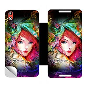 Skintice Designer Flip Cover with a hi res printed Vinyl Wrap around for HTC Desire 816, Design Neon Girl