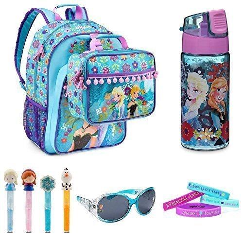 Disney Frozen Girls Deluxe Summer Set - Backpack, Lunch Kit, Water Bottle, Lip Gloss, Sunglasses & Bracelets - 1