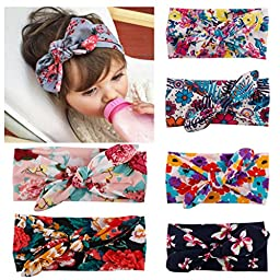 Quest Sweet® 6Pcs Baby Girls Toddler Bow Headbands Turban Knot Rabbit Hairband Headwrap Headwear