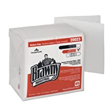 "Brawny Industrial 20023 White 1/4 Fold Medium Duty All Purpose DRC 1/4 Fold Wiper, 12.5"" Length x 13"" Width (Case of 18 Poly Packs, 65 per Pack)"