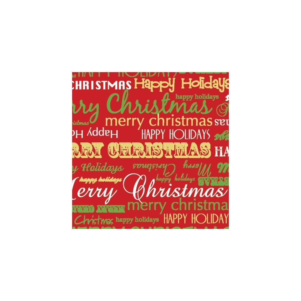 Jillson Roberts 1/4 Ream Recycled Christmas Gift Wrap, Merry Christmas, 208 Feet x 30 Inch (XB675.25)