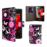 32nd® Design book wallet PU leather case cover for LG Optimus L3ii (E430) + screen protector and cleaning cloth - Gerbera