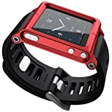 Ocr TM Cool Alumium Watch Band Wrist Strip for iPod Nano 6G Cover Case (Red) (Color: Red)