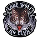 "Hot Leathers Lone Wolf, No Club Patch (5"" Width x 5"" Height)"