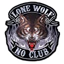 """Hot Leathers Lone Wolf, No Club Patch (5"""" Width x 5"""" Height)"""